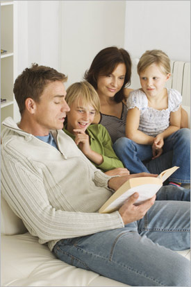 Family reading a story together